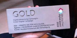 Deutscher Digital Award - Gold-Auszeichnung in der Kategorie Digital Advertising Campaigns - Cross-Digital Campaign für CROSSMEDIA und CASTENOW für den Bundeswehr-Case KSK